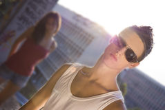Man with sunglass looking at camera Stock Photography