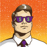 Man with sunglasses dollar sign. Vector illustration in retro pop art style. Business success concept Stock Photos