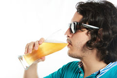 Man in sunglasses drink beer Royalty Free Stock Photos