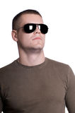 Man in sunglasses isolated on white Stock Images