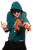 Man in sunglasses with a little guitar Royalty Free Stock Image