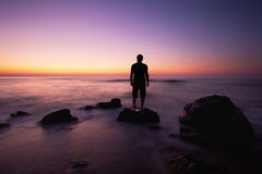 Man in sunrise Royalty Free Stock Photo