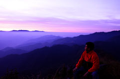 Man with sunrise Royalty Free Stock Photography