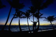 Man sunrise ocean Royalty Free Stock Image