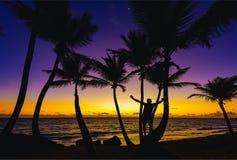 Man sunrise ocean Stock Photography