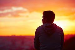 Man at the sunrise Stock Image