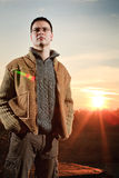 Man at sunset Royalty Free Stock Photo