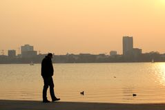 Man in the sunset. In front of a skyline Royalty Free Stock Image