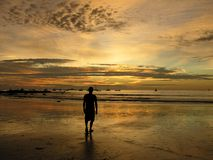 Man in the sunset on the beach in Costa Rica Stock Photos