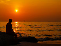 Man Sunset beach. Royalty Free Stock Image
