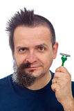 Man with super efficient razor Stock Images