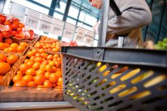 Man in Supermarket. Closeup of a man carrying basket while buying fruits in the supermarket Royalty Free Stock Image