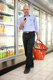 Man in Supermarket Stock Photography