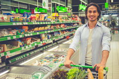 Man in the supermarket Royalty Free Stock Image