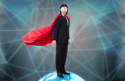 The man with superpowers ruling the world. Man with superpowers ruling the world royalty free stock images