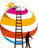 Man support ladder bright way Stock Image