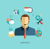 Man support operator Flat illustration.  Stock Photography