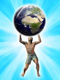 Man supporting the world. The man effort supporting the planet world Royalty Free Stock Images