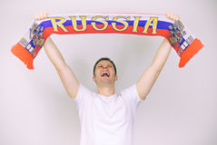 Man supports Russian team. Stock Photos