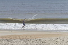 Man Surf Fishing in the Outer Banks Stock Image