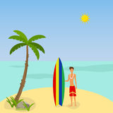 A man with a surfboard. Flat design, illustration vector illustration