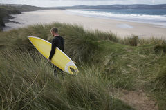 Man With Surfboard Walking Through Grass On Beach Royalty Free Stock Images