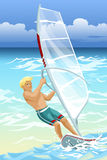 Man surfboarder ocean character cartoon  illustration Royalty Free Stock Images