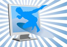 Man surfing. Blue man surfing in LCD Royalty Free Stock Photo