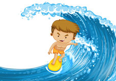 Man surfing on the big wave Stock Photos