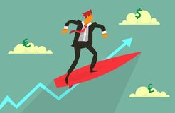 Man on surfing board. Businessman on surfing board flying high in the sky. Vector illustration of rising trend metaphor Royalty Free Stock Photography