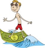 Man surfing on cash money on a wave Stock Photos