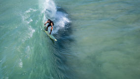 Man Surfing on Green Water Royalty Free Stock Image