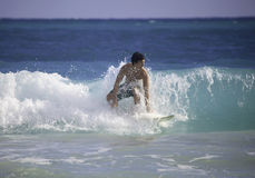 Man surfing in hawaii Stock Photography