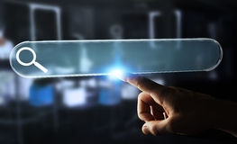 Man surfing on internet using tactile web address bar 3D renderi. Man using tactile interface web address bar to surf on internet 3D rendering Stock Photo