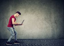 Man surfing modern laptop on gray wall stock images