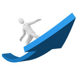 Man surfing the success Stock Photography
