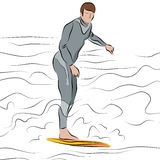 Man Surfing on Surfboard Line Drawing Stock Photography