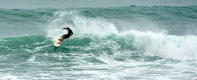 Man surfing in Tawharanui Regional Park New Zealand. WARKWORTH, NZL - JAN 26 2016:Man surfing in Tawharanui Regional Park. It's one of the best surfing location stock photo