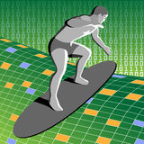 Man surfing in virtual world Stock Photography