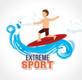 Man surfing on wave extreme sport Royalty Free Stock Photos