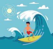 Man surfing on wave. Vector illustartion on flat stile Stock Photography