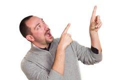 Man surprised. A man surprised indicate something Royalty Free Stock Photo