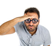 Man with a surprised expression and thick glasses Royalty Free Stock Photography