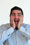 Man surprised face expression Stock Photography