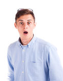 Man with surprised face isolated Stock Photo