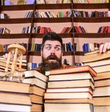 Man on surprised face between piles of books, while studying in library, bookshelves on background. Teacher or student. With beard sits at table with books stock photography