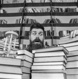 Man on surprised face between piles of books, while studying in library, bookshelves on background. Teacher or student. With beard sits at table with books royalty free stock image
