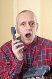 Man Surprised on Phone Royalty Free Stock Photo
