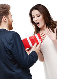 Man surprises his girlfriend with present Stock Images