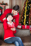 Man surprising with a gift woman on christmas Eve. Man covering woman's eyes with his hand and surprising with a gift on Christmas Eve royalty free stock photography
